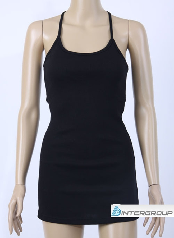 Lady′s Black Tank Top with Halter Neck (BG-T115)
