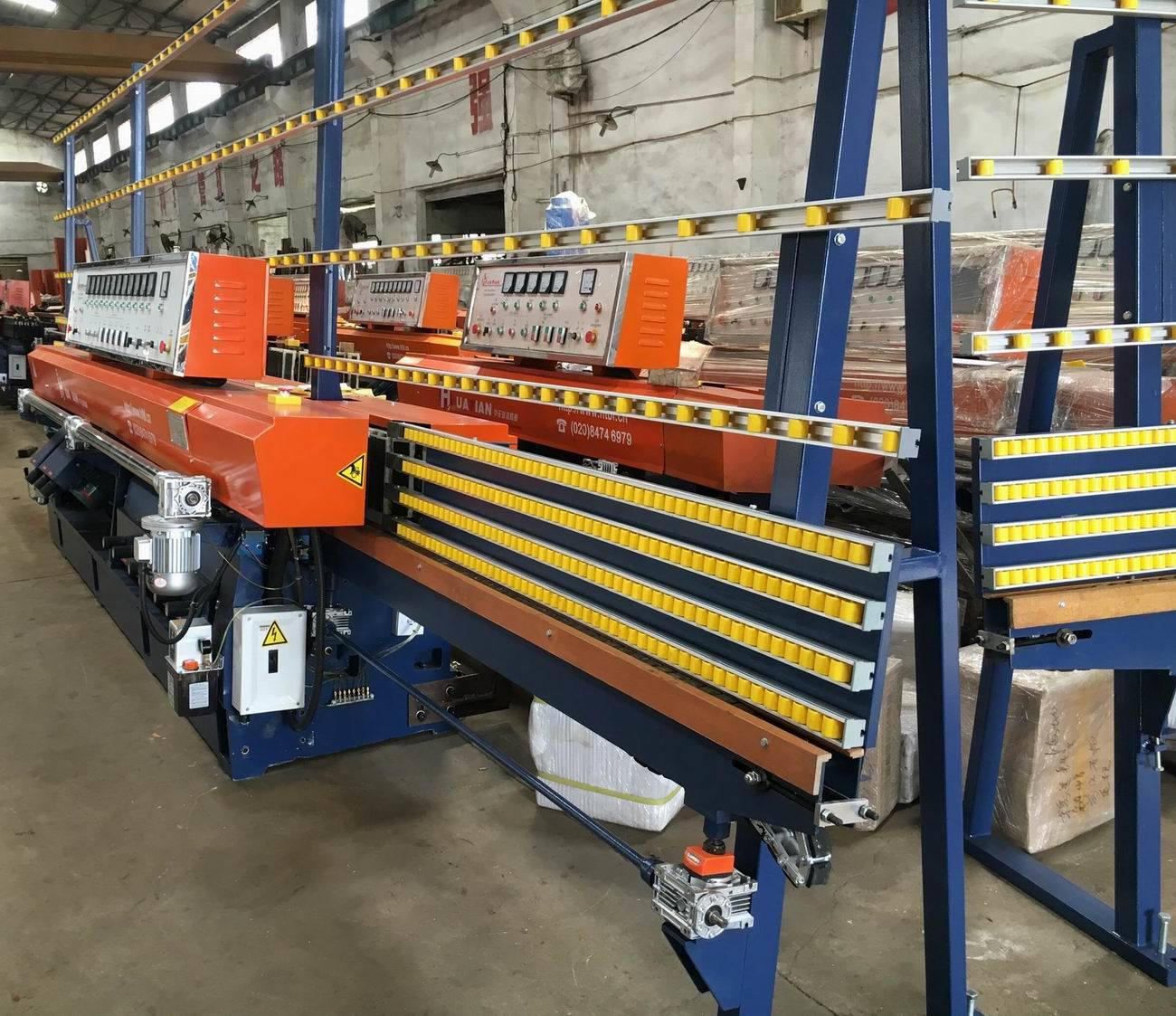 Automatic PLC 9 Spindles Glass Straight Line Edging / Edger Machine