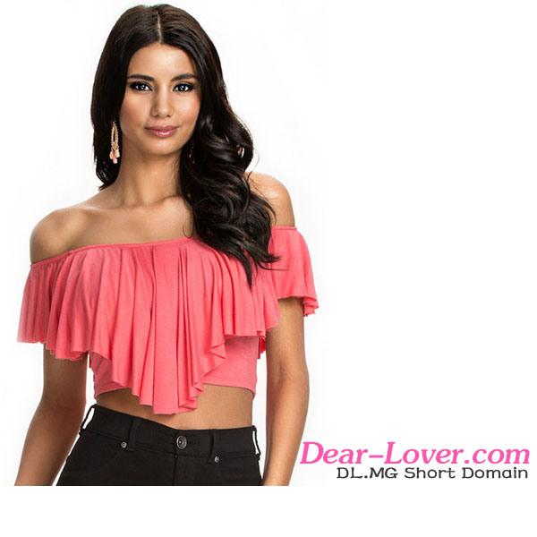 Fashion Pink Ruffles off-Shoulder Crop Tops