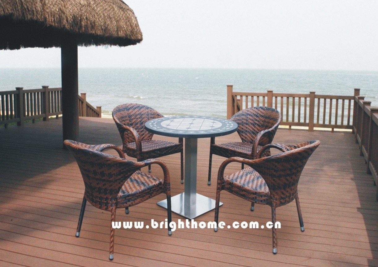 Modern Design French Simple Table and Chair Set Rattan Dining Set Wicker