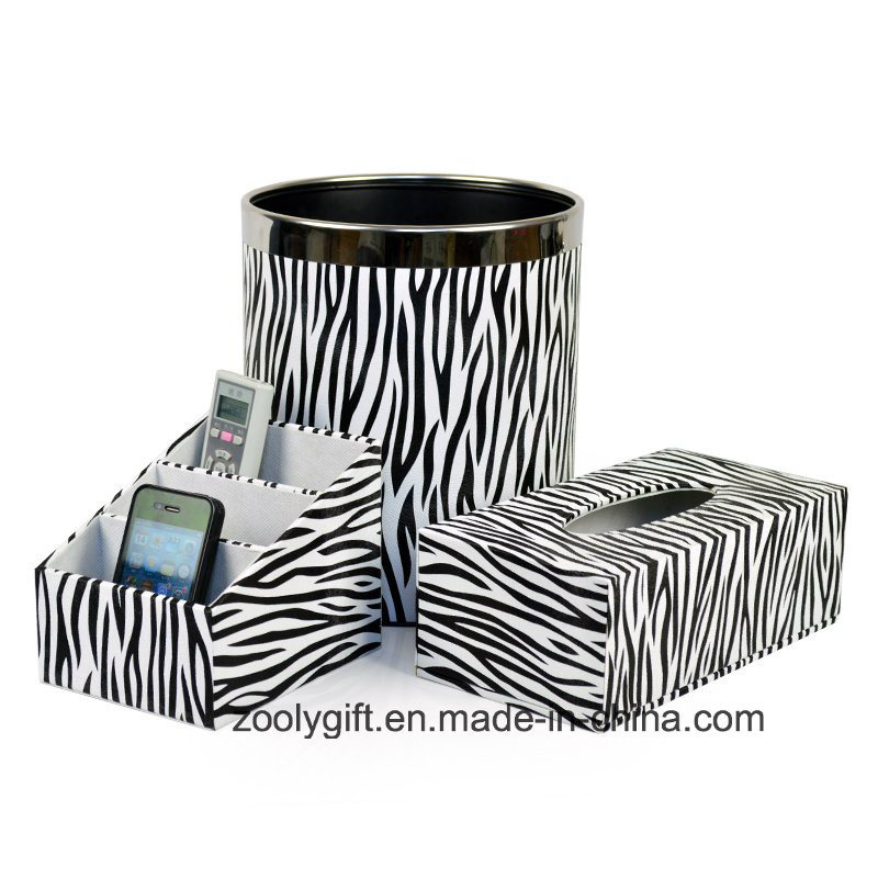 Zebra PU Leather Office Desktop Stationery Holder Tissue Box Trash Bin
