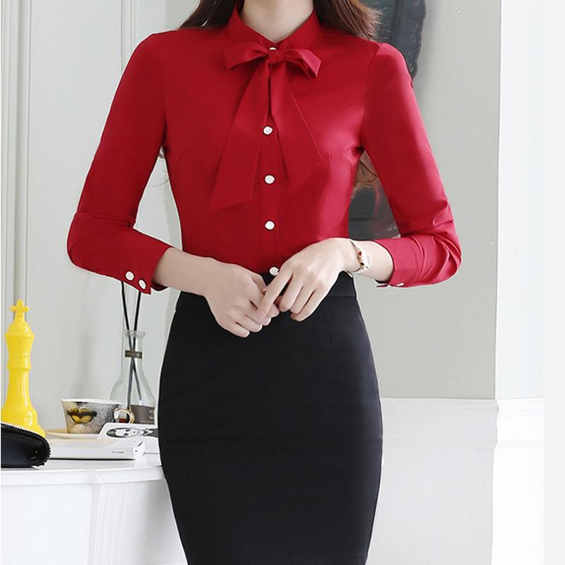 Business Women Wear Long Sleeve Formal Shirt of Cotton