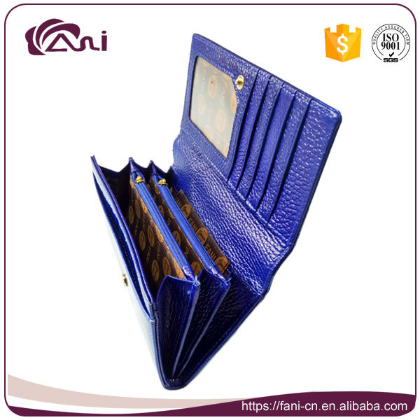 New Arrival Elegance Blue Genuine Leather Lady Mighty Wallet