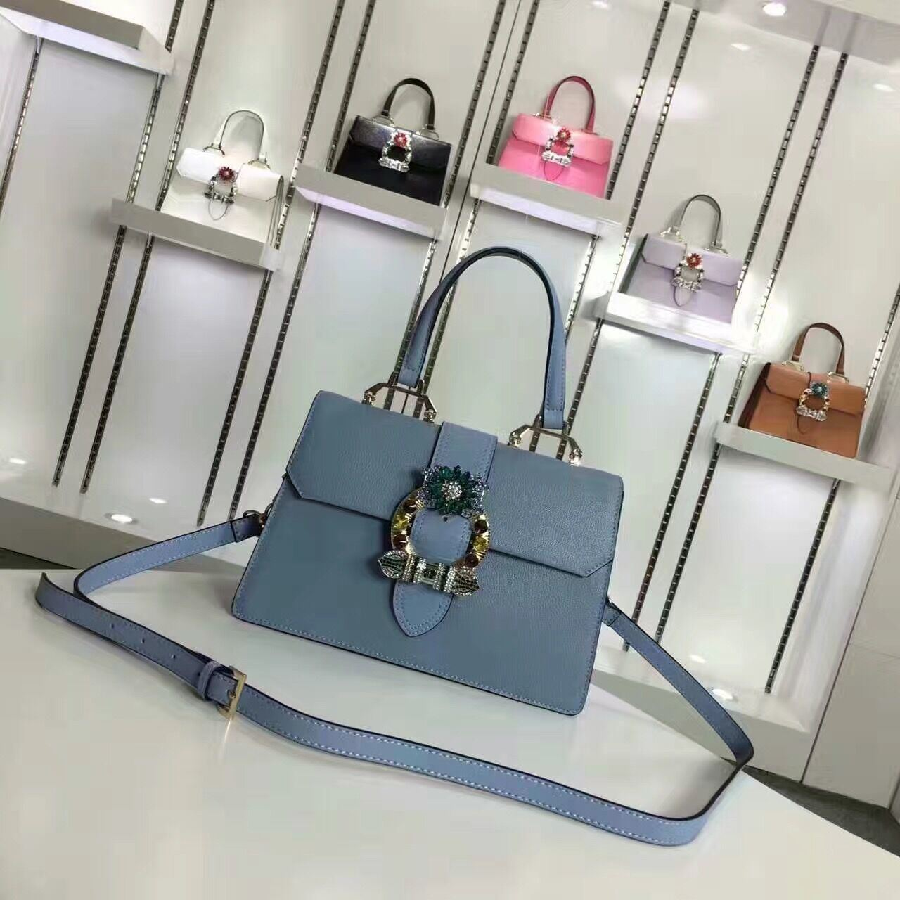 Europe Style Famous Brand Name Diamond Women Hand Leather Bag
