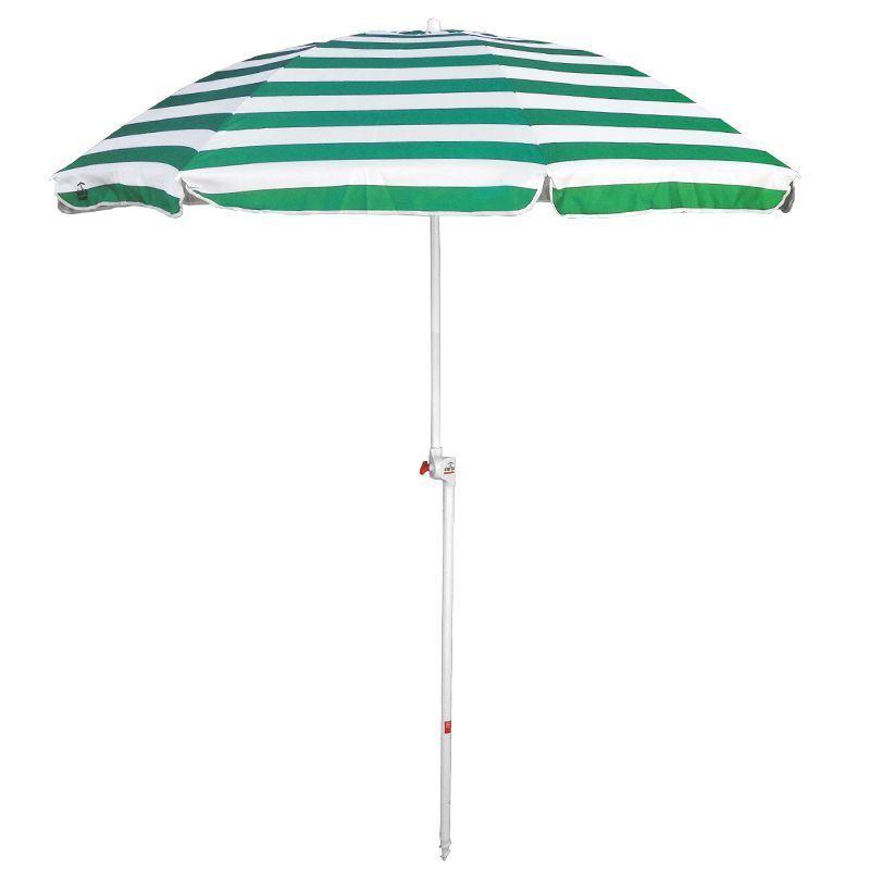Green Stripe Printing Acrylic Fabric Bending Sun Umbrella