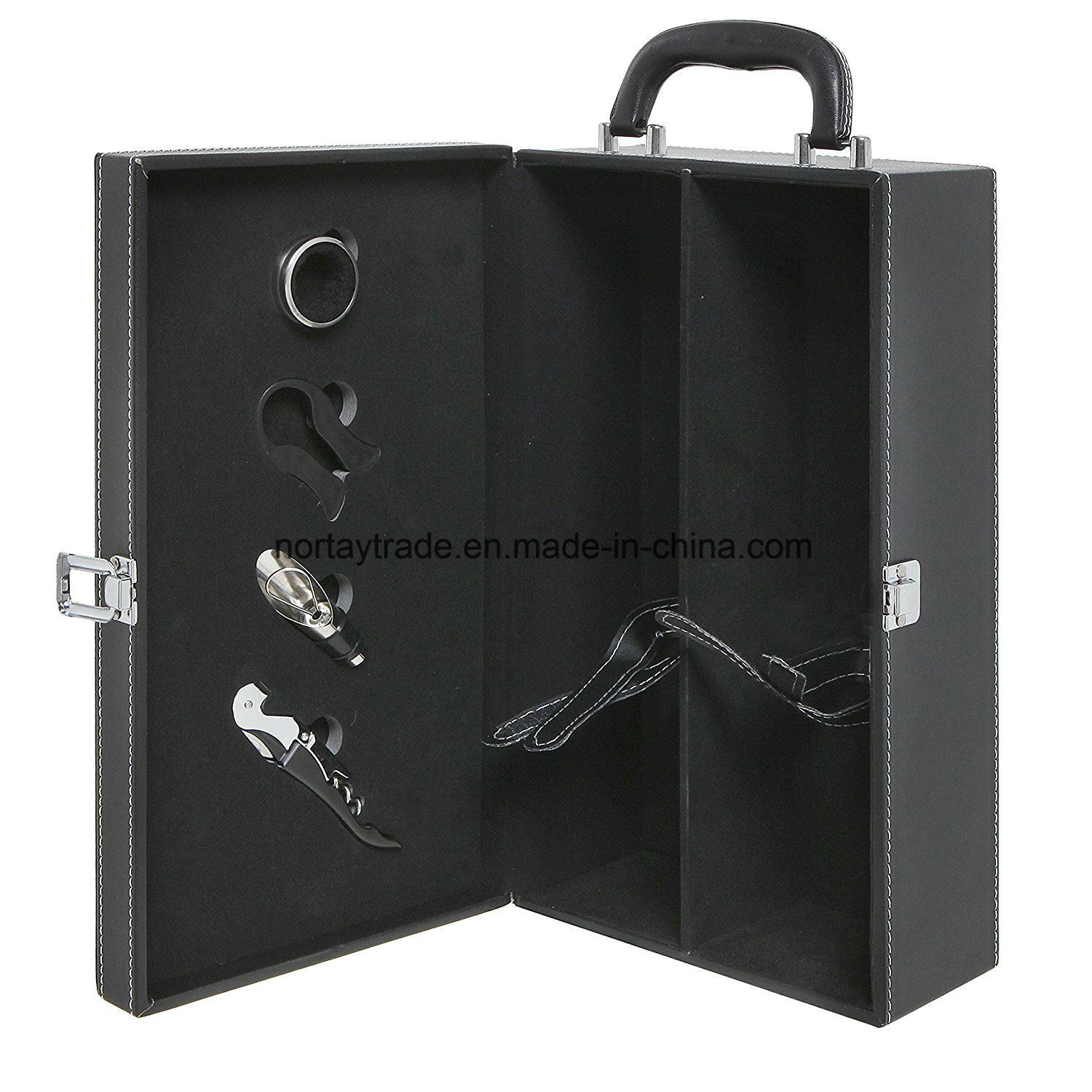 2-Bottle Modern Black Top Handle Travel Wine Carrier Box with 4 Piece Wine Accessory Set