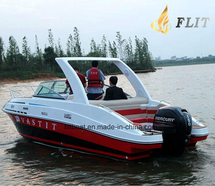 24FT Outboat Style and Fiberglass Half Cabin 9 Person Luxury Yacht
