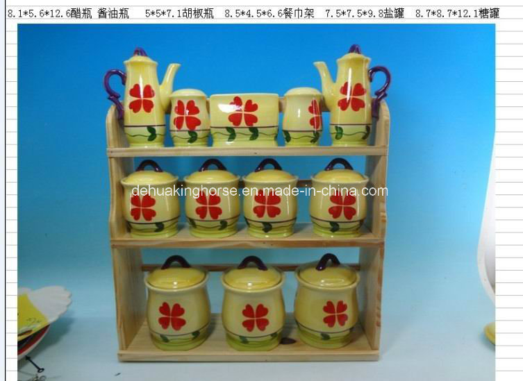 Ceramic 12PCS Spice Set with Wooden/Metal Stand