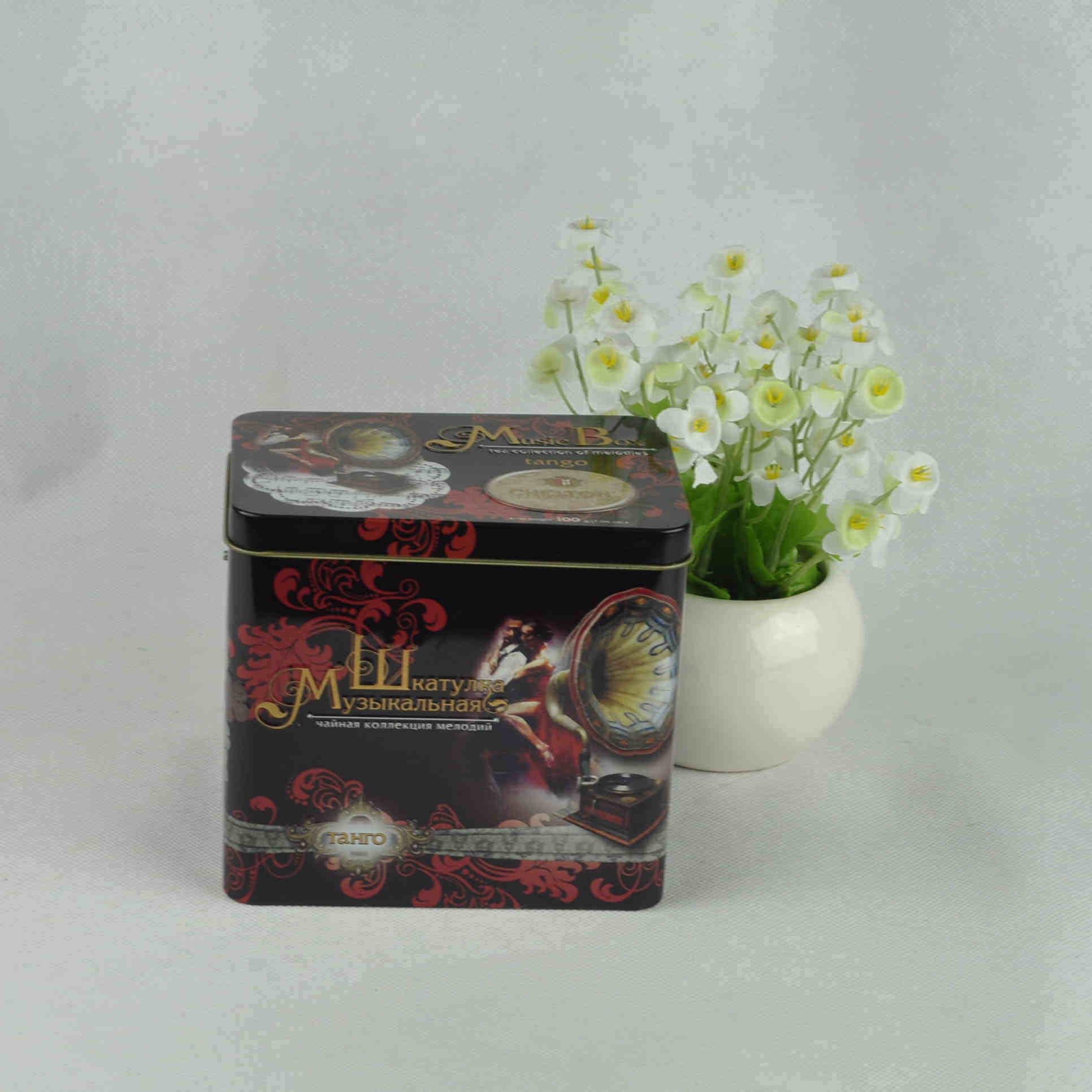 Rectangular Shape Music Tin Box
