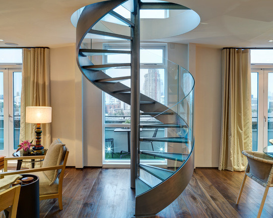 Spiral Stringer Staircase with Glass Step