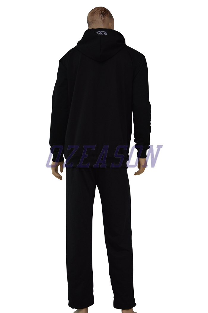 Factory OEM Plain Black Cotton Fitness Tracksuits for Winter (TJ017)