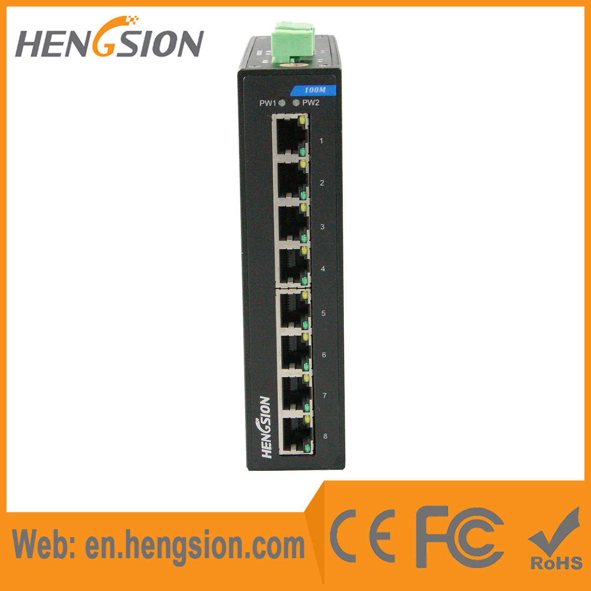 8 Megabit T (X) Fast Ethernet Ports Industrial Network Switch