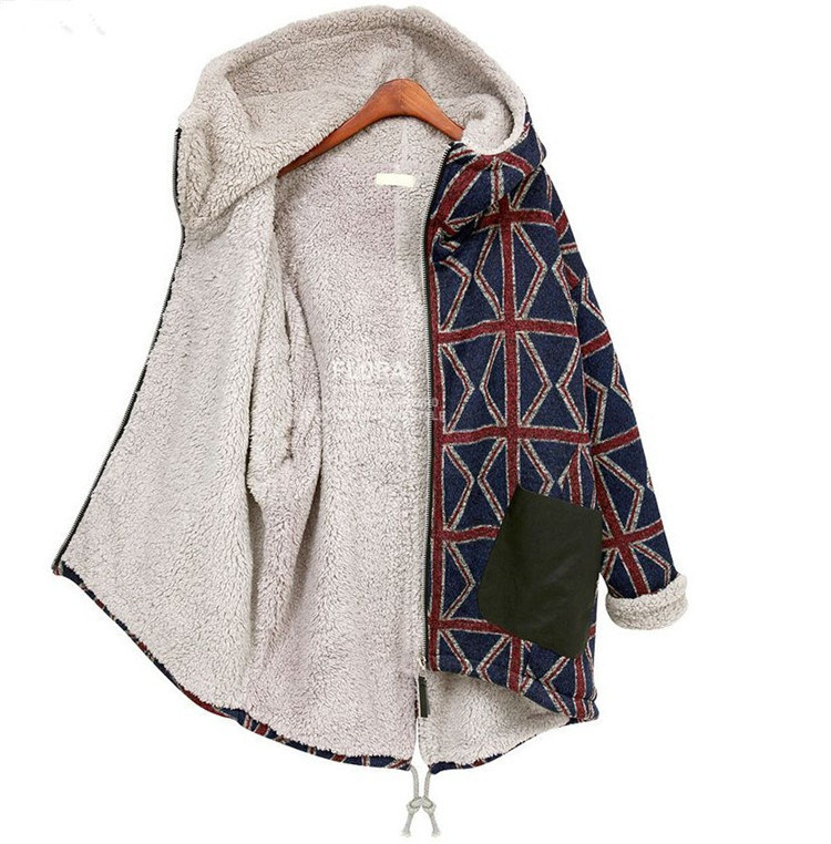 Plus Size Winter Overcoat Long Sleeve Loose Red Check Quilted Sweater with Suede Hoodies