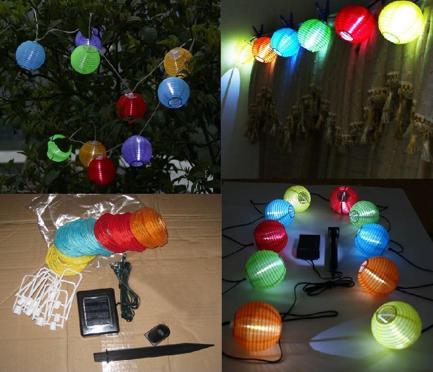 10 solar chinese lanterns party light garden lamp solar - Lamparas solares de led ...