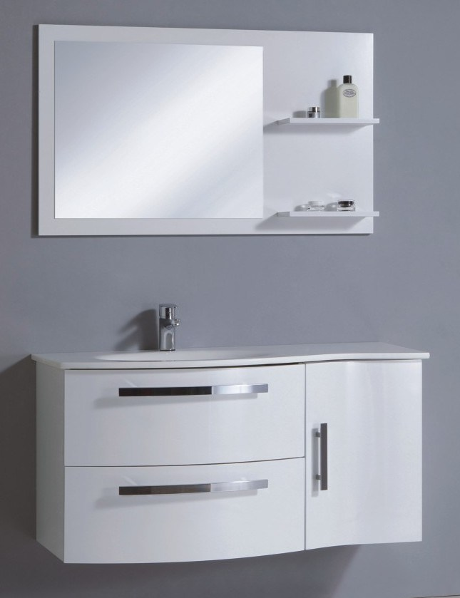 china wall mounted pvc bathroom cabinet in high gloss white color