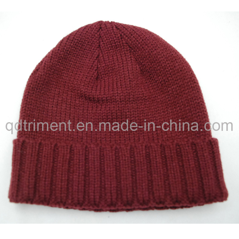 100% Acrylic Roll up Knitted Ski Beanie Hat (TRK3001)