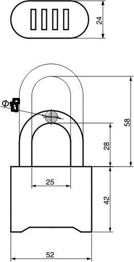 Combination Padlock, Brass Combination Padlock, Padlock (AL-B50)