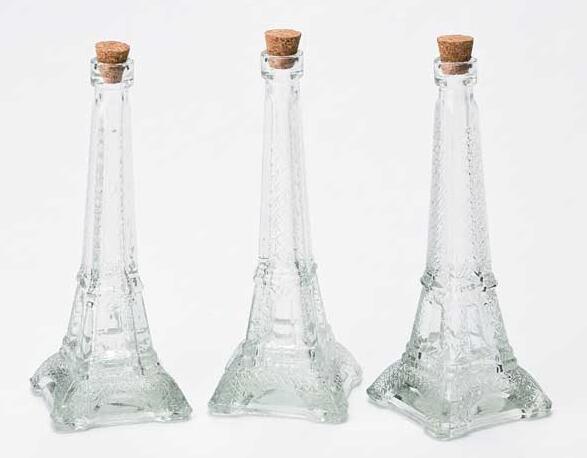 Eiffel Tower Glass Wine Bottle Beverage Bottle with Cork Lid