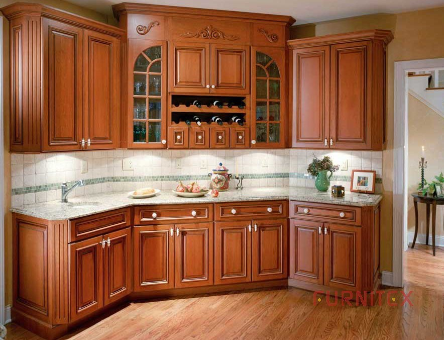 China american wooden kitchen cabinet grant cherry 01 for Cherry wood kitchen cabinets