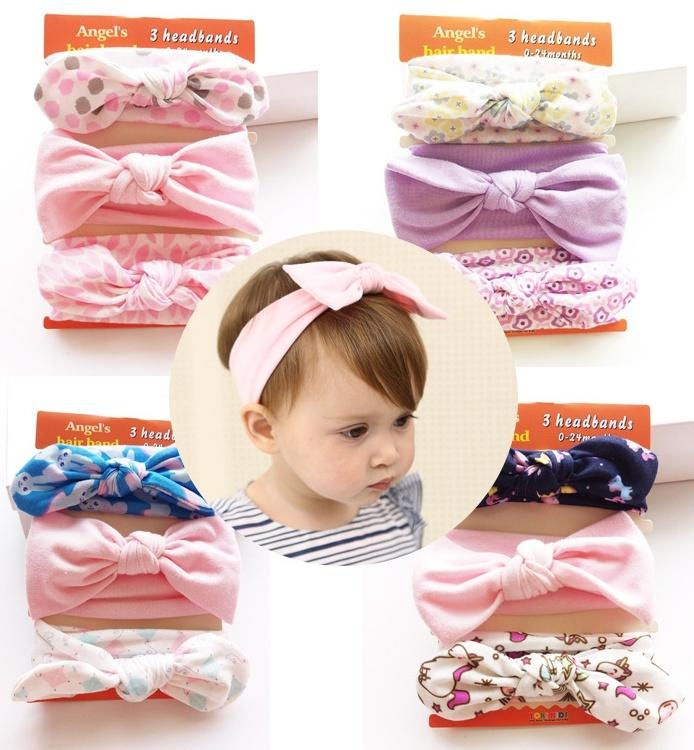 2017 Cotton Ribbon Bowknot Head Band Fashion Baby Hair Accessories