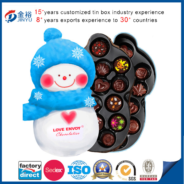 Snowman Shaped Metal Tin Can with Plastic Foam