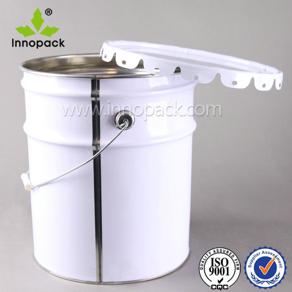 White 5 Gallon Metal Bucket with Lid for Paint and Chemical