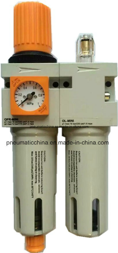 Air Source Treatment Unit with Square or Round Gauge Filter Regulator Lubricator