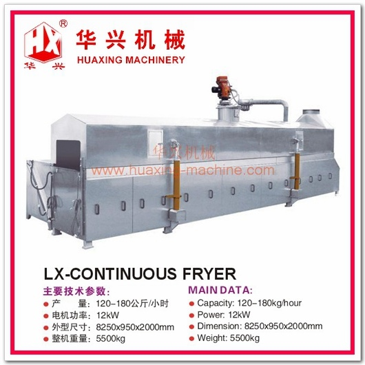 Lx-Continuous Fryer Continuous Frying Machine (Frying Snack, Peanuts, Beans)