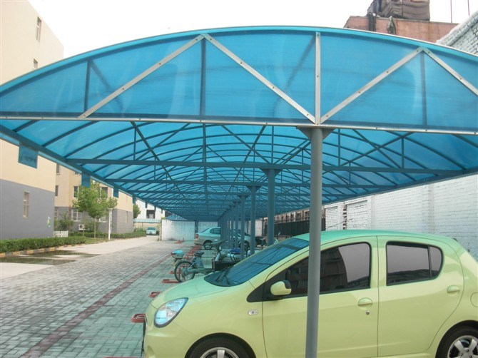 Aluminum Frame and Polycarbonate Blue Hollow Sheet Carport
