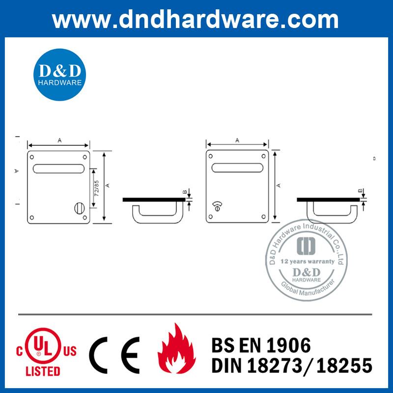 Door Hardware Lever Handle on Back Plate 170X170mm