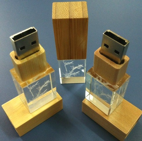 Wood & Bamboo Crystal USB Stick 4GB 8GB 16GB 32GB