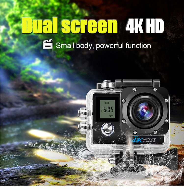 4k Dual Screen WiFi Helmet Sport Camera Mini with Waterproof