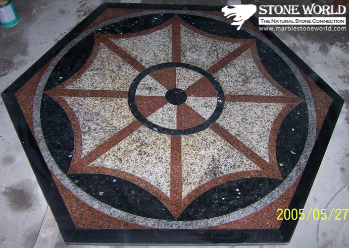 Mixed Color Waterjet Marble Medallion for Flooring/Paving/Lobby Tiles (mm-004)