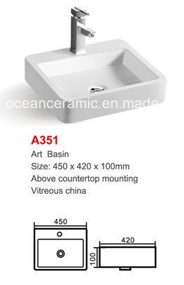 Ceramic Basin (No. A351) Art Basin Counter Top Mounting, Rectangular 450mm