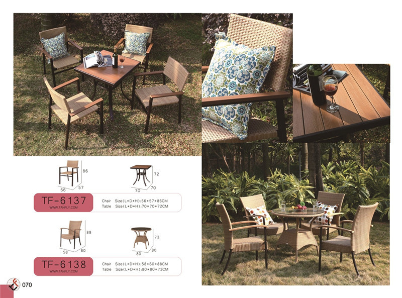 Summer Top Quality Aluminum PE Rattan Outdoor Cafe Furniture