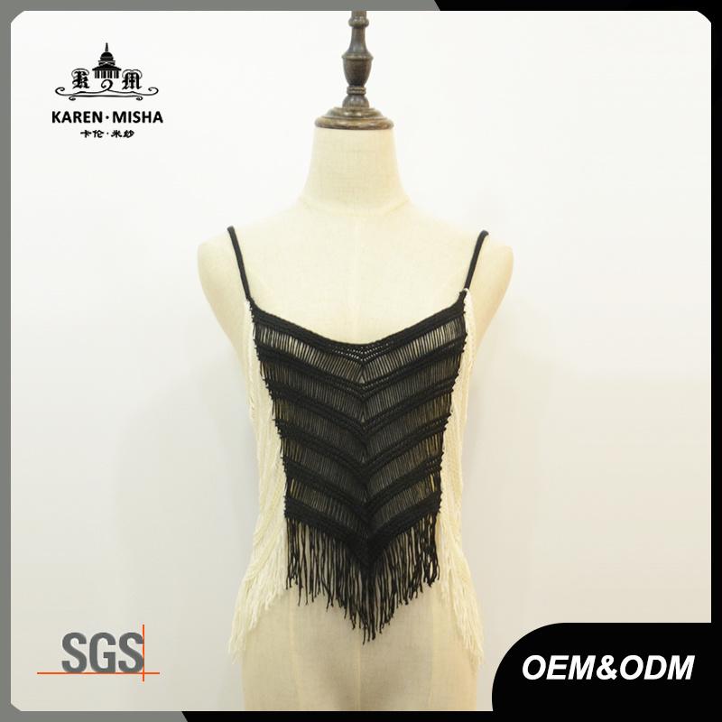 Women Fringe Contrast Slim Fit Crop Knitwear