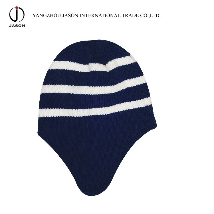 Ear Flap Knitted Hat Bobble Ear Flap Acrylic Knitted Hat Ear Flap Warm Hat Winter Ear Flap Knitted Beanie Hat