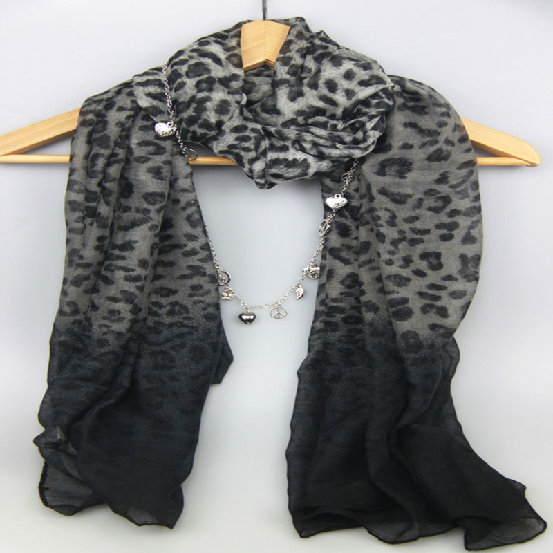 Grey Leopard Scarf for Women, Girl Scarf, Fashion Accessory Decoration Shawl