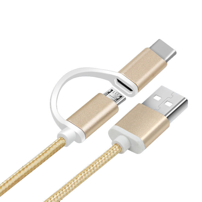 Multi Nylon Braided 2 In1 USB Cord USB Data Cable High Speed USB 2.0 Universal Charging for Phone