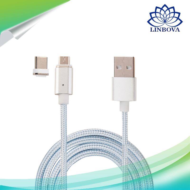 3 in 1 USB Drive Metal Magnetic Data Cable with Micro USB & Lighting & Type C for Android iPhone7/6s/6 Samsung Sony Xiaomi