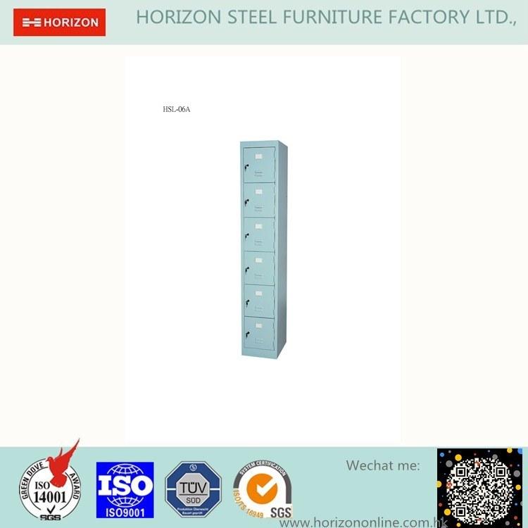 Six Swinging Doors Steel Locker Wardrobe with Index Holder and Slim /Storage Cabinet
