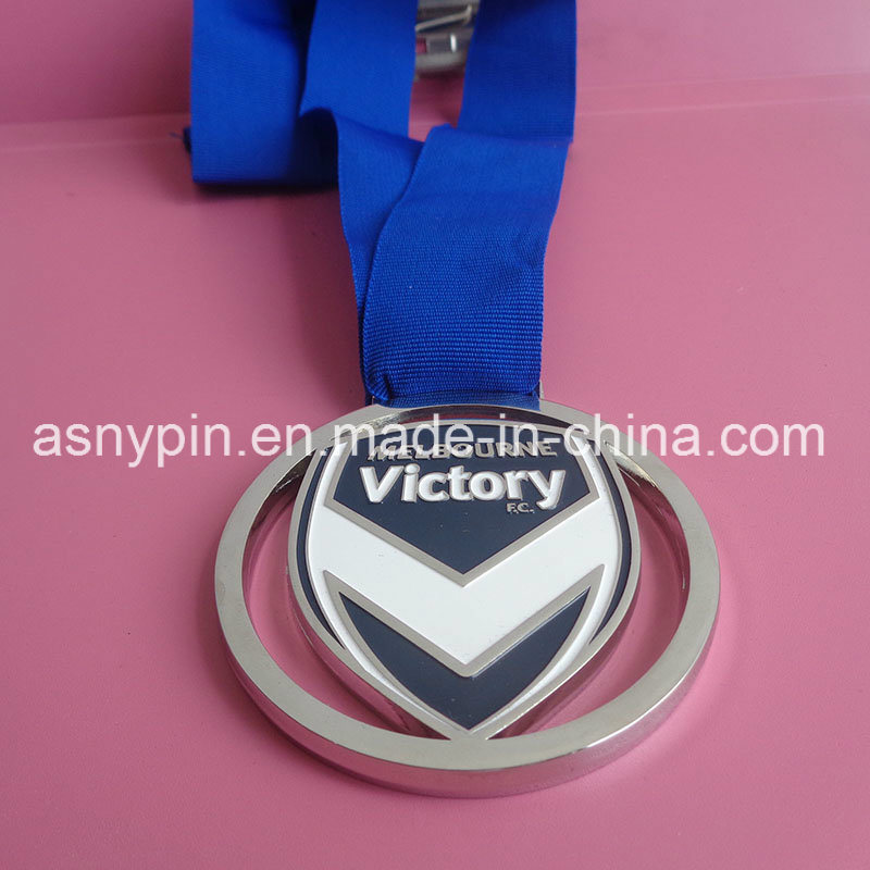 Custom Metal Shiny Silver Cut out Blue Ribbon Victory Medals Metal