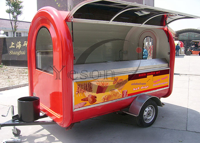 Shanghai Supplier Mobile Food Trailer Food Cart Trailer Snack Cart