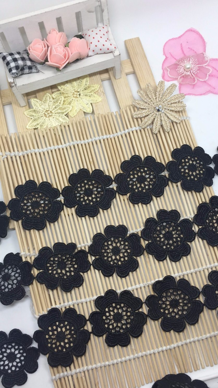 40cm Width Guipure Embroidery Trimming Polyester Lace Fabric for Garments & Home Textiles & Curtains & Girls Dress