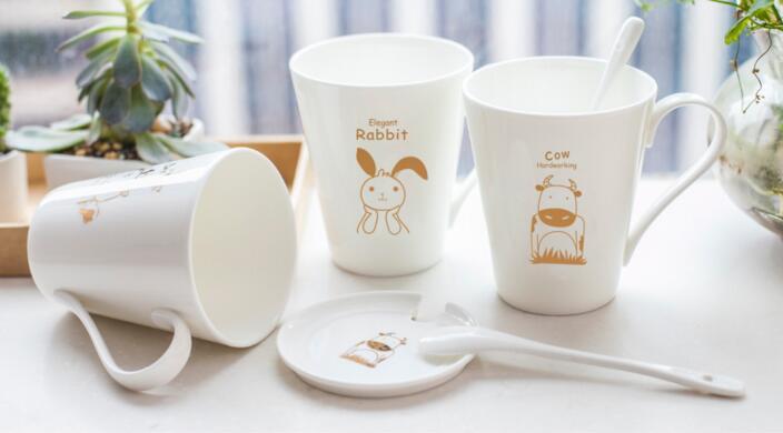 Custom-Made 250ml Ceramic Couple Mug for Coffee with Animal Design