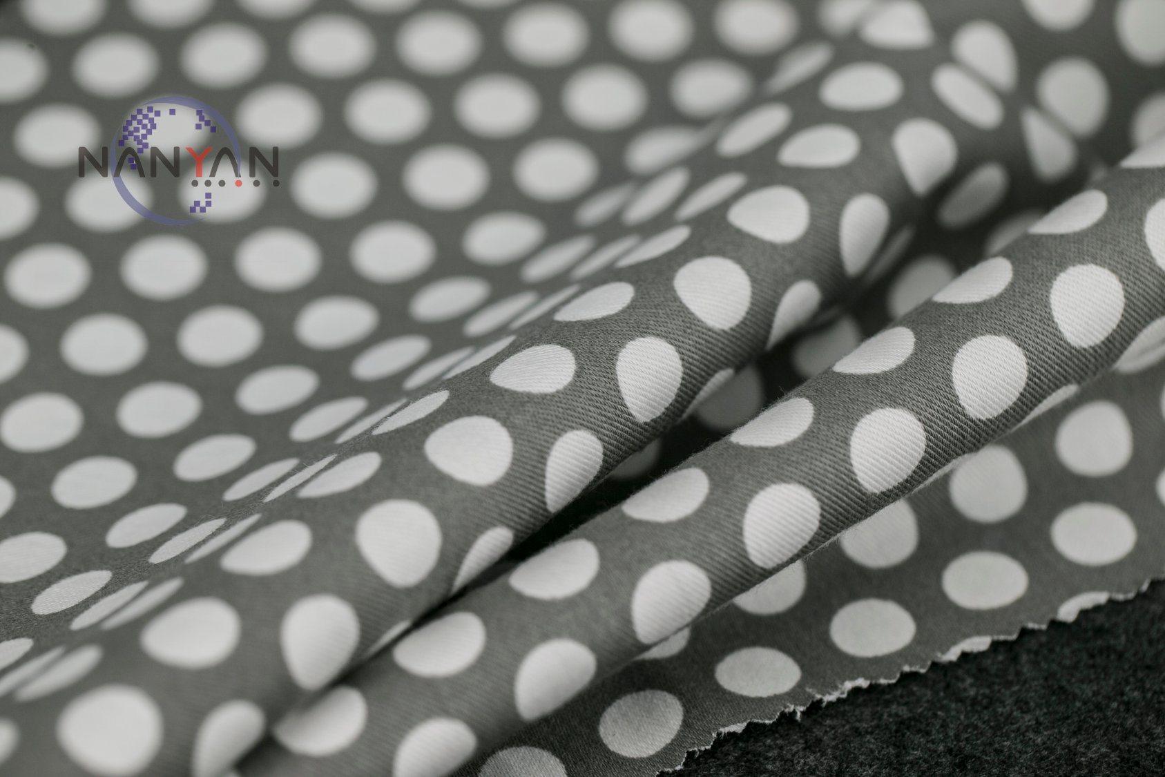 DOT or Flower Printed Streth Denim Fabric