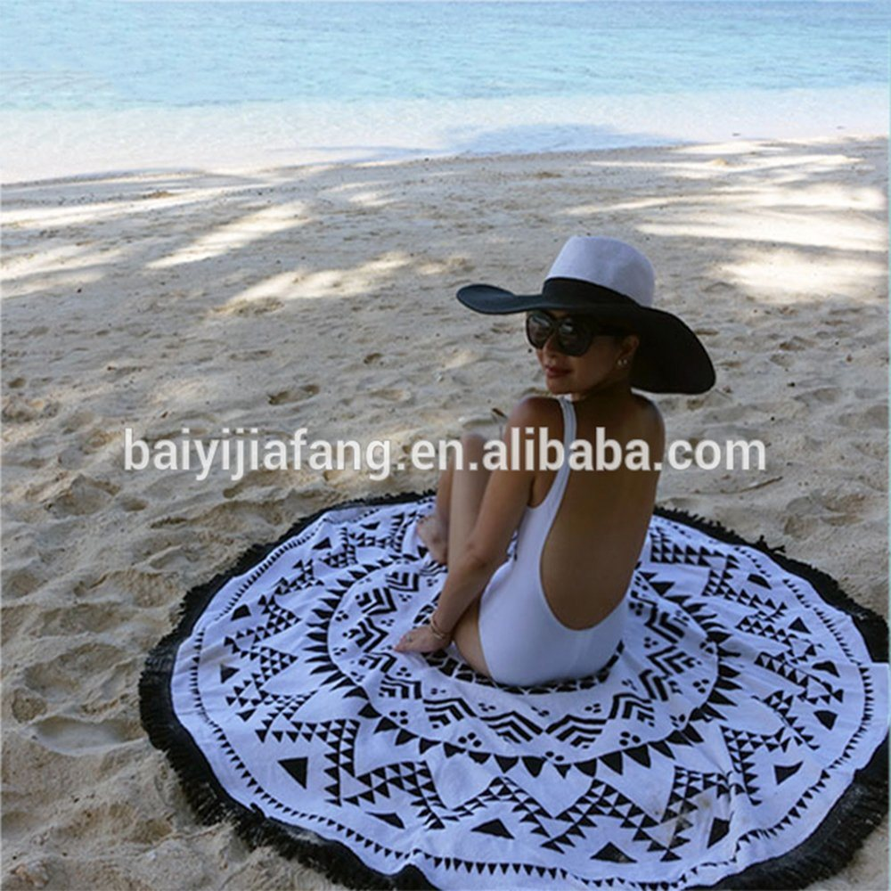 Be02 Printed Turkish Round Beach Towel Round Aztec Beach Towel