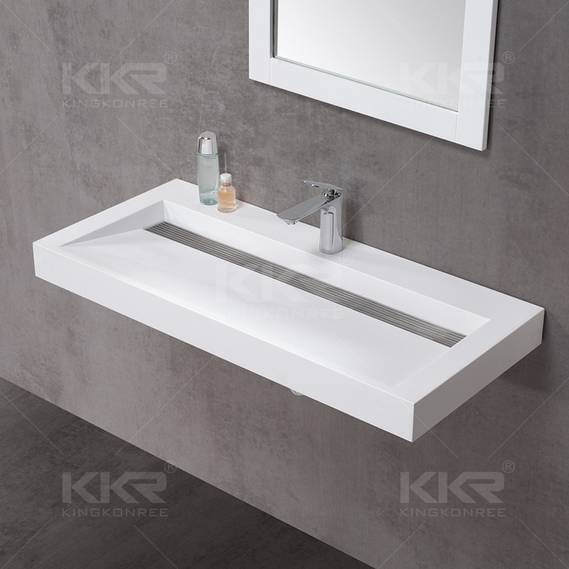 Wholesale Wall Hung Solid Surface Bathroom Wash Basin (20170603)
