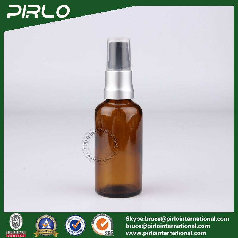 50ml Amber Lightproof Glass Spray Bottles with Black Aluminium Pump Sprayer