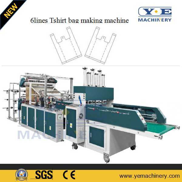 Double Layer 10 Lines Plastic T-Shirt Bag Making Machine with Conveyor